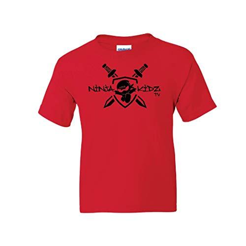 Ninja Kidz- TV Shield Tee: Ninja Kids T-Shirt Short Sleeve (Red, Youth Small)