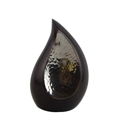 Cremation Urns Mini Size Brown Sparkle Teardrop Keepsake With Velvet Box