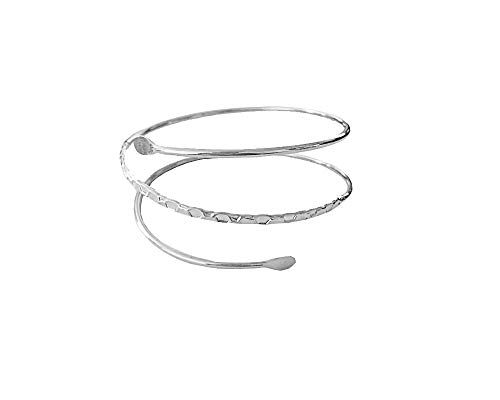 JOYID Fashion Upper Arm Bracelet Cuff Bangle Coil Bracelet Simple Swirl Leaf Armband Jewelry for Women Girls-Silver - Armband Coil