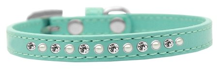 Mirage Pet Products Pearl and Clear Crystal Aqua Puppy Dog Collar, Size 16 by Mirage Pet Products