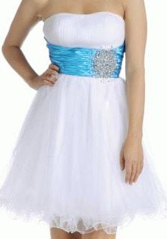 Strapless Cocktail Party Junior Prom Dress #611 (12, White/Turquoise)