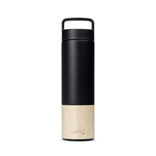 (Welly Traveler | Vacuum Insulated & Infusing Stainless Steel Bamboo Water Bottle | Double Wall, Wide Mouth, BPA Free (Black) (Black, 18oz))