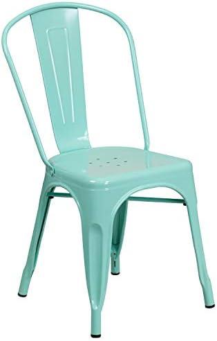 Flash Furniture Mint Green Metal Indoor-Outdoor Stackable Chair