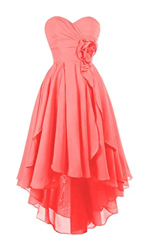 JeniDress Women's Hi-Lo Sweetheart Floral Chiffon Formal Evening Prom Gowns A-Line Wedding Party Bridesmaid Dress
