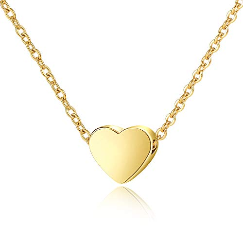 Lanqueen Gold Tiny Floating Cute Heart Pendant Necklace for Women Girls Minimal Dainty Durable Adjustable Chain Necklaces Stainless Steel Charm -