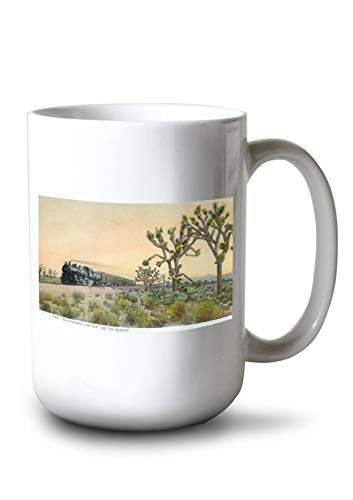 California - View of California Limited Train Travelling Through Desert (15oz White Ceramic Mug) ()