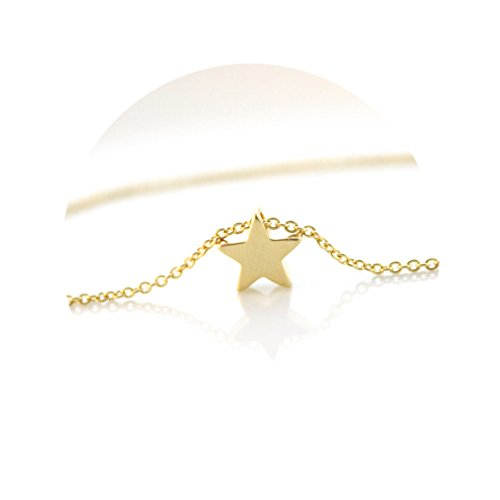 Star Gold Necklace - Fettero Tiny Lucky Star Gold Choker Necklace-Dainty 14K Gold Filled Little Star Minimalism Style Pendant Necklace Personalized Delicate Friendship Jewelry Gift