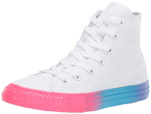 Converse Unisex Kids' Chuck Taylor All Star Rainbow Midsole High Top Sneaker, White/Racer Pink/Black, 3 M US Little Converse High Tops Girls