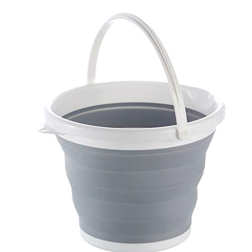 youeneom Collapsible Bucket with Handle,Car Wash Bucket,Collapsible Bowls for Camping, Fishing,31cm Dia 10L Cleaning Pail, Mop with Handle(Grey) (Bucket)
