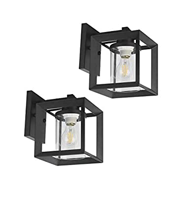 TENGXIN Outdoor Wall Sconce,Wall Lantern,Proch Light,Black Finished with Glass Shade,UL Listed,Suitable for Garden & Patio Lights