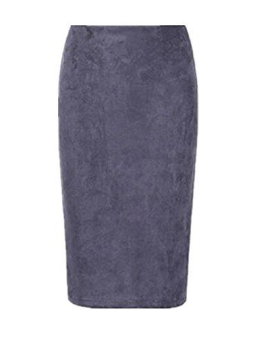 AILIENT Femme Jupe Crayon Rtro Suede Plusieurs Coloris Court Genou Jupe Elgant Classique Jupe Crayon Grey