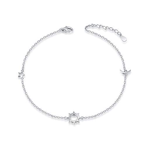 - 925 Sterling Silver Ankle Bracelets Moon Star Sun Universe/Flower//Side Cross Adjustable Anklet Jewelry Foot Chain for Women Girls