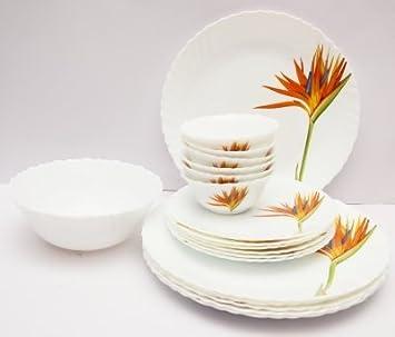 LaOpala Flaming Grace Dinner Set, 33-Pieces, Multicolour