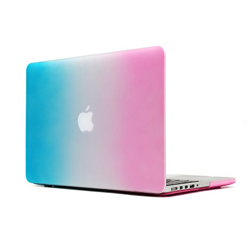 """MacBook Pro 15 Retina Display CaseTECOOL® 2 in 1 Frosted Matte Snap-on hard Shell Plastic Case Cover Skins and Silicone Keyboard Cover with TECOOL® Mouse Pad for MacBook Pro 15"""" With Retina Display Model: A1398(Rainbow)"""
