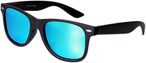 Nerd Sunglasses Matt Rubber Style Retro Vintage Unisex Glasses Spring Hinge Black - 24 Different Models (Black-Turquoise, - Bans Ray Turquoise