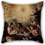 Artistdecor Oil Painting Juan De Valdés Leal - The Conferring Of The Name Of Jesus Cushion Cases 20 X 20 Inches / 50 By 50 Cm Best Choice For Bar,bf,bedroom,bedroom,study -