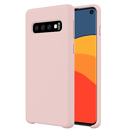 (Orzero Liquid Silicone Gel Rubber Case Compatible for Samsung Galaxy S10 Full Shock Absorbing Ultra Slim Protective [Baby Skin Touch -Pink)