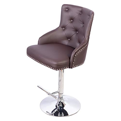 Irene House Adjustable Height Bar Stool Tufted Upholstered Barstool with Footrest Swivel Dining Chair Brown, Bar Chair