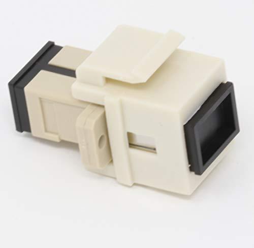 Multimode Simplex Fiber Coupler - Fiber Optic Keystone Coupler Jack SC Simplex Multimode - Light Almond