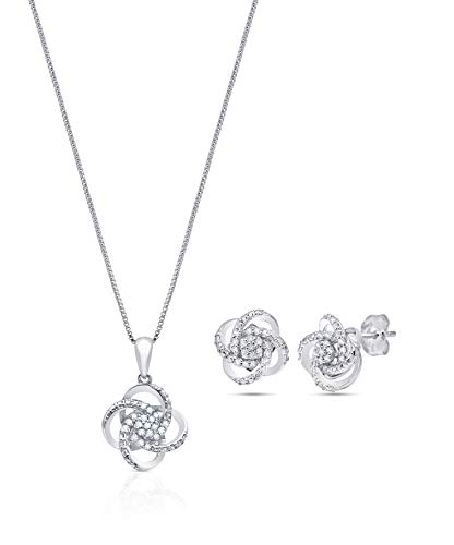 1/4 CT.TW. Genuine Diamond Love Knot Gift Boxed Set in Sterling Silver with 18