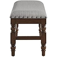 iNSPIRE Q Flatiron Burnisd Dark Oak Nailad Trim Dining Bench by Classic Grey