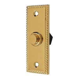 Solid Brass Rectangular Rope Bell Button (PVD) by ()