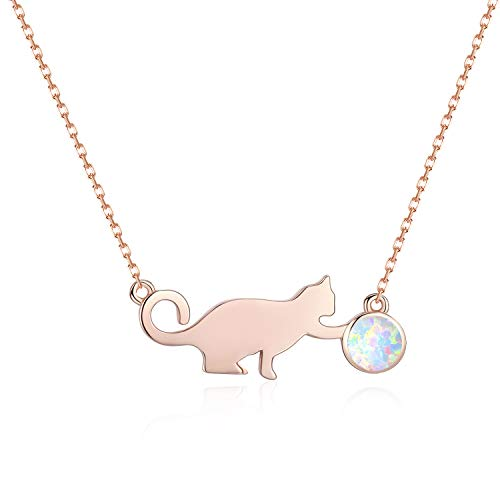 PRAYMOS Cat Necklace S925 Sterling Silver Synthetic Opal Necklace Cat Gifts for Cat Lovers, 18