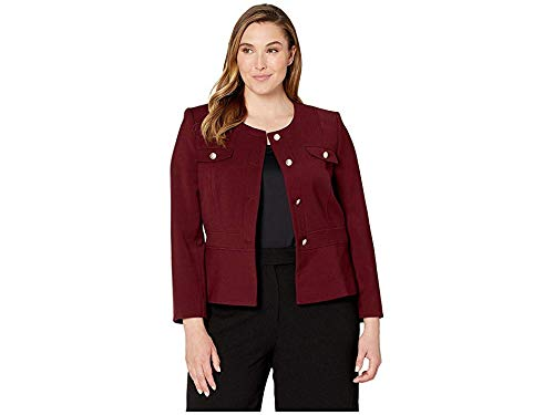 - Tahari by ASL Women's Double Woven Military Style Jacket Plum 10