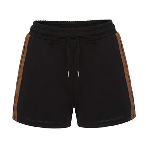 shijiazhuangxingxinjiaju Pants That Turn Into Shorts,Womens Striped Mid Waist Loose Shorts Drawstring Waist Ringer Shorts Pants,Black,XL
