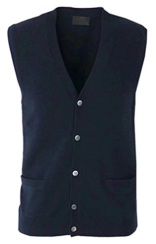 (Mioubeila Mens Solid Cashmere Cardigan Button Vest Knit Sweater Tops Knitwear)