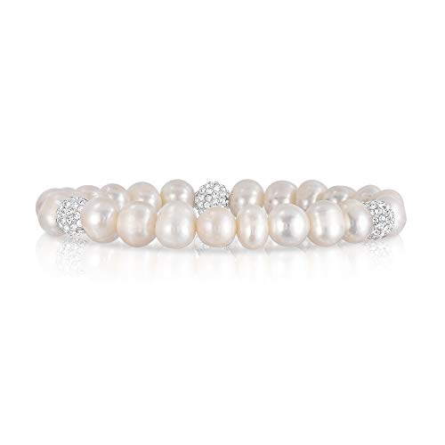 Cultured Freshwater Pearl Crystal Bead Stretch Bracelet for Women- Pearl Bracelets Crystal Cultured Pearl Bracelet