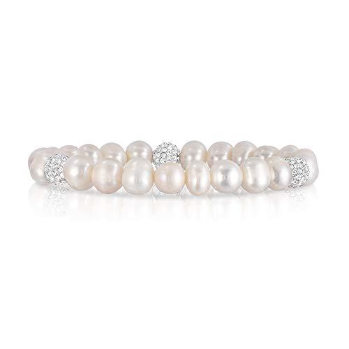 (Cultured Freshwater Pearl Crystal Bead Stretch Bracelet for Women- Pearl Bracelets )