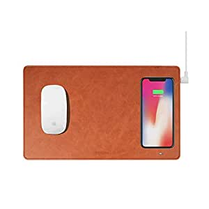 Gaze PAD Qi Wireless Fast Charging Mouse Pad Mat for iPhone X iPhone 8 Galaxy S8 S9 Plus Samsung Note 8 9 (Brown)