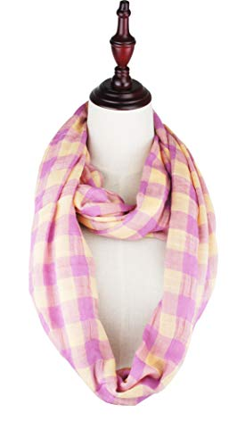 VIVIAN & VINCENT Soft Light Weight Plaid Check Tartan Sheer Infinity Scarf 17 CG Violet Yellow