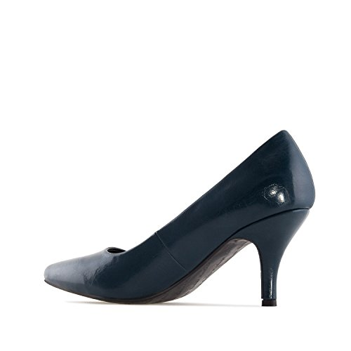 Andres Machado Am5206.heeled Shoes In Faux Leather.womens Petite & Large Szs: Us 2 To 5 -us 11.5 To 13 / Eu 32 To 35 -eu 43 Tot 45 Marine Faux Leder