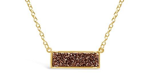 Ellena Rose Minimalist Drusy Bar Necklace - Gold Plated Horizontal Bar Druzy Pendant Necklace For Women (Rose Brown (Brown Rose Pendant)