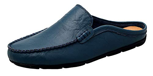 Go Tour Mens Mules Clog Slippers Breathable Leather Slip on Shoes Casual Loafers Blue 8.5/42