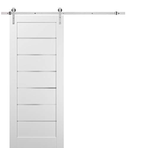 Sliding Barn Door 36 x 96 with Stainless Steel 6.6ft Hardware | Quadro 4117 White Silk with Frosted Opaque Glass | Top…