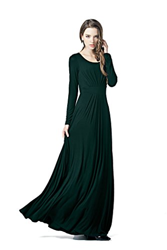 Charm Your Prince Women's Designer Round Scoop Neck Long Sleeve Maxi Dress Olive Green S -