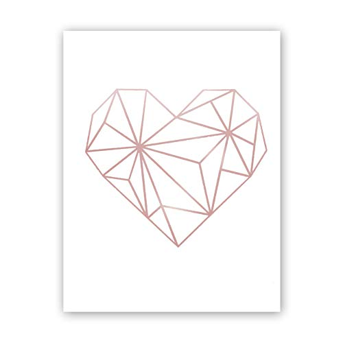 Abstract Geometric Heart Rose Gold Foil Print,Inspirational Quote Cardstock Art Print Poster Love Wall Art Decor-Great Gift for Girls (Set of One,8x10 -