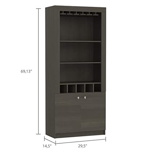 Home Bar Cabinetry TUHOME Montenegro Bar Cabinet Smoky Oak with Wine Rack home bar cabinetry