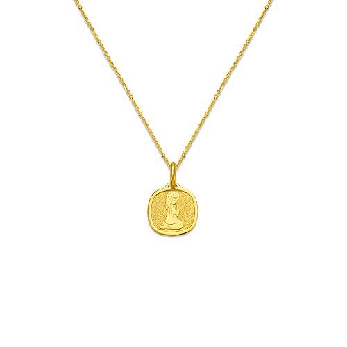 14K Yellow Gold Charm Praying Girl or Boy Communion Pendant Necklace (14, 15, 16, 18, 20), 16