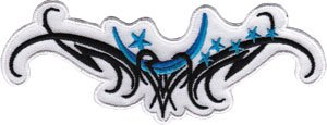 Blue Moon & Stars Tribal - Tattoo Art - Iron on or Sew on Embroidered Patch - Moon Tribal Tattoos