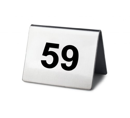 New Star Stainless Steel Tent Style Table Number Card, 2-Inch by 1.5-Inch, Numbers 51 to 75 by New Star Foodservice