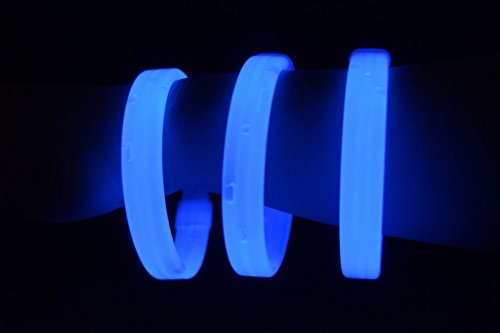 "Glow Sticks Bulk Wholesale Wristbands, 25 9"" Blue Triple-wide Glow Bracelets, Bright Color, Glow 8-12 Hrs, 25 Connectors Included, Glow Party Favors Supplies, Sturdy Packaging, GlowWithUs Brand"