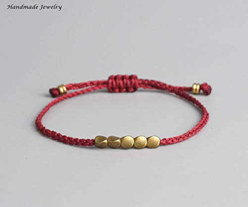 - Lucky Handmade Bracelet Handmade Tibetan Copper Bead Lucky Rope Bracelet & Bangles For Women Men Wax Thread Bracelets
