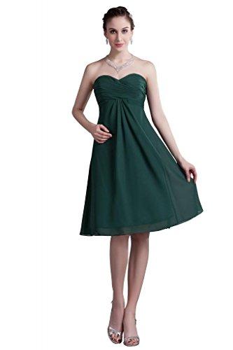 Gefaeltelt Gruen GEORGE Einfache Olive Kleid knielangen Olive BRIDE Abendkleid Brautjungfer Gruen Chiffon q1wPHfIT1F