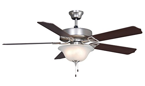 - Fanimation Aire Décor - 52 inch - Satin Nickel with Glass Bowl Light Kit - 220v with Pull-Chain - BP220SN1-220
