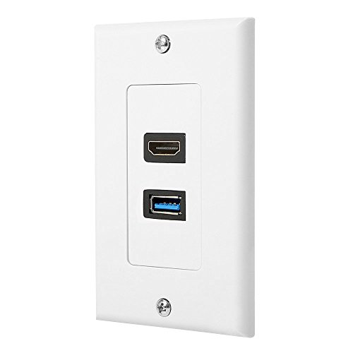 HDMI & USB 3.0 Wall Plate HDMI Wall Charger Outlet Mount Socket Face Plate Panel Cover,White(USB+HDMI)