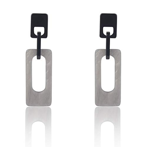 Bacoby Acrylic Earrings for Women Fashion Cellulose Acetate Earrings Pendient Fashion Jewelry (Rectangle Gray)